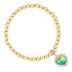 Jon Richard - Green crystal heart bracelet MADE WITH SWAROVSKI ELEMENTS
