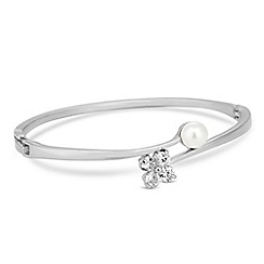 Jon Richard - Silver cubic zirconia flower and pearl bangle