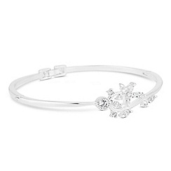 Jon Richard - Silver cubic zirconia flower and leaf fine bangle