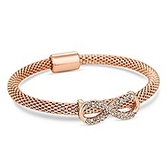 Jon Richard - Rose gold crystal infinity mesh bangle