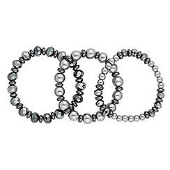 Jon Richard - Grey pearl and bead stretch bracelet set
