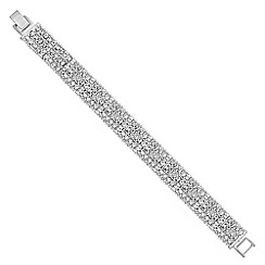 Jon Richard - Silver diamante and beaded row bracelet