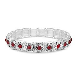 Jon Richard - Red crystal pave square stretch bracelet
