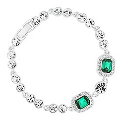 Jon Richard - Green crystal square and circle stone bracelet