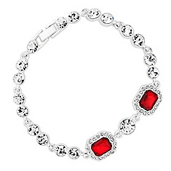 Jon Richard - Red crystal square and circle stone bracelet