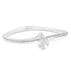 Jon Richard - Silver cubic zirconia flower and crystal pave bangle