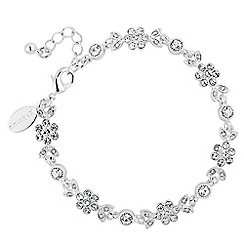 Alan Hannah Devoted - Designer silver leaf and flower crystal bracelet