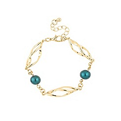 Jon Richard - Teal pearl and gold link rope bracelet