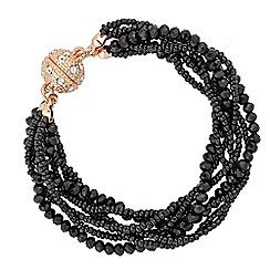 Jon Richard - Black bead multi row magnetic bracelet