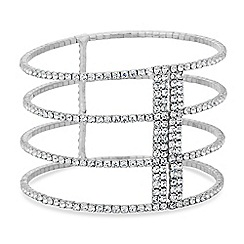 Jon Richard - Silver four row open diamante cuff bracelet