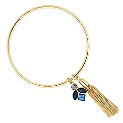 Jon Richard - Blue crystal cluster tassel bangle
