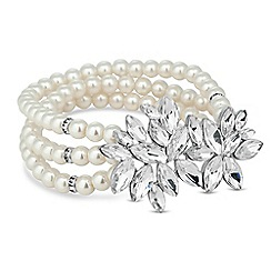 Alan Hannah Devoted - Designer crystal cluster multi row pearl bracelet