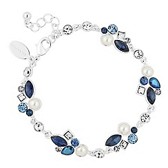 Alan Hannah Devoted - Designer blue crystal and pearl cluster bracelet
