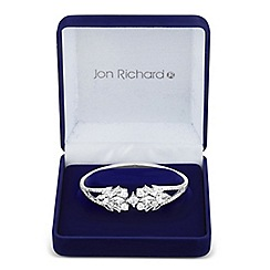Jon Richard - Allure Collection Silver cubic zirconia leaf cluster bangle
