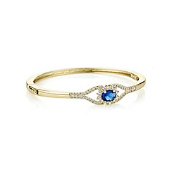 Alan Hannah Devoted - Designer blue cubic zirconia pave encased gold bracelet