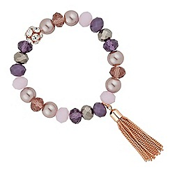 Jon Richard - Purple pearl and bead tassel bracelet