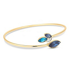 Jon Richard - Gold blue graduated crystal open bangle MADE WITH SWAROVSKI CRYSTALS