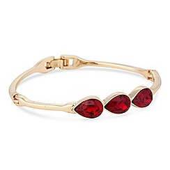 Jon Richard - Gold red crystal peardrop bangle MADE WITH SWAROVSKI CRYSTALS