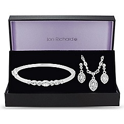 Jon Richard - Silver peardrop crystal trio jewellery set