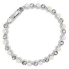 Jon Richard - Silver crystal and pearl tennis bracelet