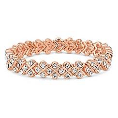 Jon Richard - Rose gold crystal cross stretch bracelet