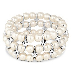 Jon Richard - Cream pearl and crystal stretch bracelet