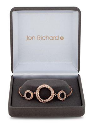 Jon Richard Rose gold cubic zirconia circle twist bracelet