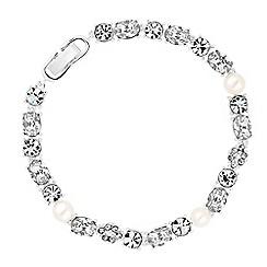 Alan Hannah Devoted - Designer silver graduated crystal and pearl bracelet