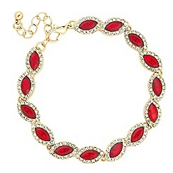 Jon Richard - Red crystal navette gold bracelet