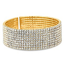 Jon Richard - Gold diamante crystal cuff bangle