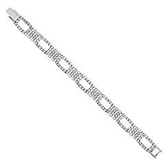 Jon Richard - Silver diamante crystal open link bracelet