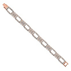 Jon Richard - Rose gold diamante crystal open link bracelet