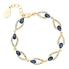 Alan Hannah Devoted - Designer blue crystal peardrop link gold bracelet