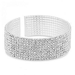 Jon Richard - Silver crystal diamante cuff bracelet