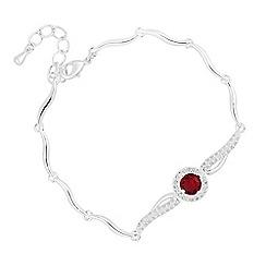 Jon Richard - Red cubic zirconia centre wave link bracelet