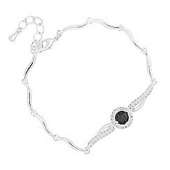 Jon Richard - Black cubic zirconia centre wave link bracelet