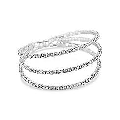 Jon Richard - Silver diamante multi row cuff