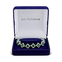 Jon Richard - Green cubic zirconia square bracelet