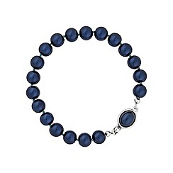 Jon Richard - Navy pearl bracelet with oval clasp