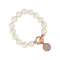 Jon Richard - Rose gold pave disc clasp pearl bracelet