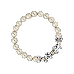 Alan Hannah Devoted - Silver floral pearl stretch bracelet