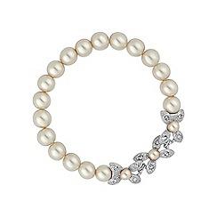 Alan Hannah Devoted - Silver floral pearl stretch bracelet