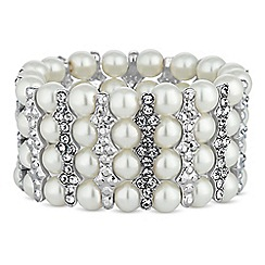 Jon Richard - Silver crystal bar pearl bracelet