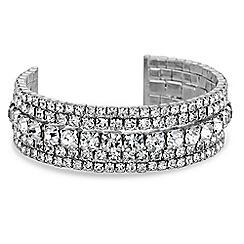Jon Richard - Silver diamante cuff bracelet