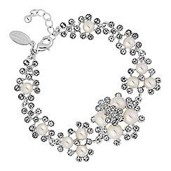 Alan Hannah Devoted - Designer silver crystal and pearl cluster bracelet