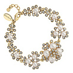 Alan Hannah Devoted - Designer gold crystal and pearl cluster bracelet