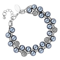 Jon Richard - Charcoal pearl and pave ball bracelet