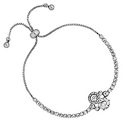 Jon Richard - Silver cubic zirconia cluster toggle bracelet