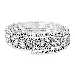 Jon Richard - Silver fine diamante coil bracelet