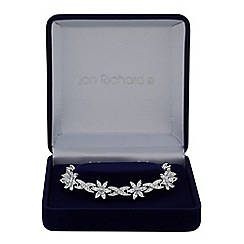 Jon Richard - Silver cubic zirconia flower and leaf bracelet
